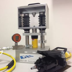 Point load tester PLT-10 is rated to 10 ton 98 kN. Tests core annd rock sample strength.